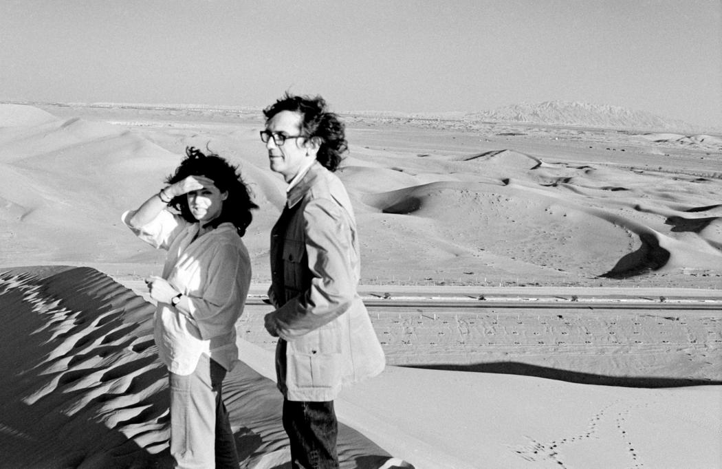 Christo and Jeanne-Claude during their first trip to the United Arab Emirates,  looking for a possible site for The Mastaba, February 1982