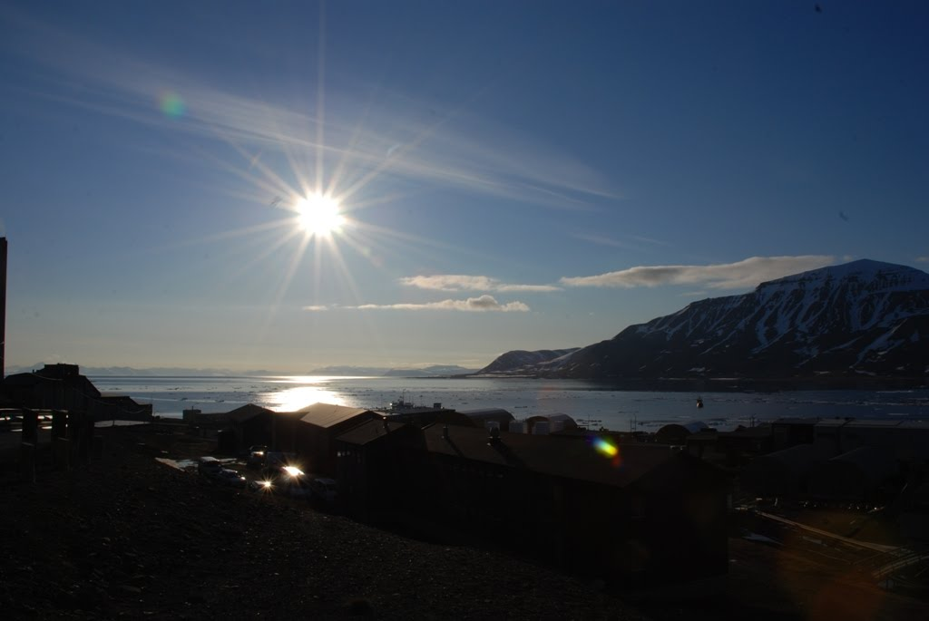 Midnight Sun over Longyearbyen, Svalbard.
