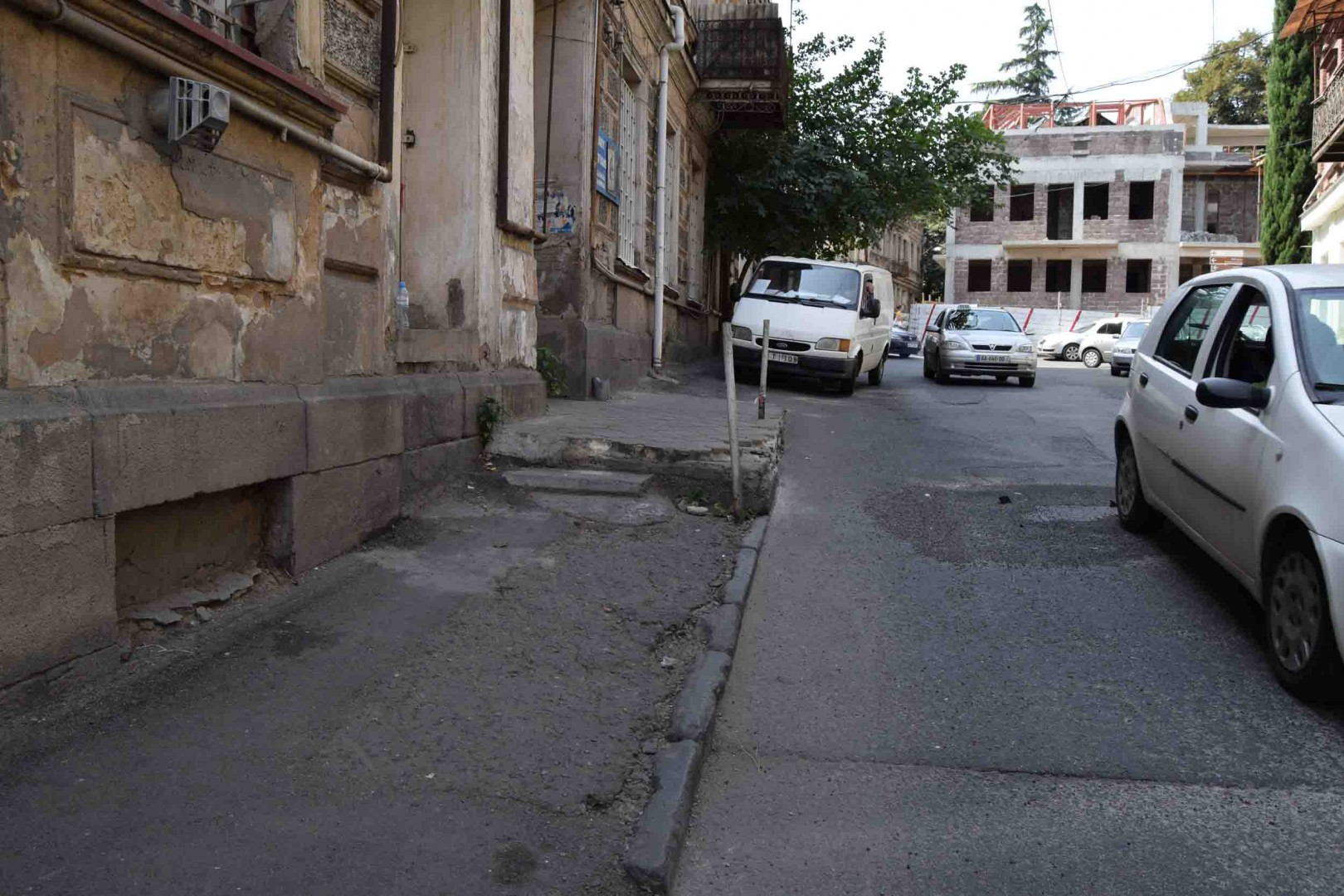 Sidewalk at Asatiani Street, Old Tbilisi.