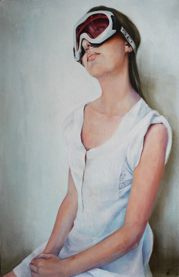 Tamar Maglaferidze_Self portrait_oil canvas, 94X61 2014
