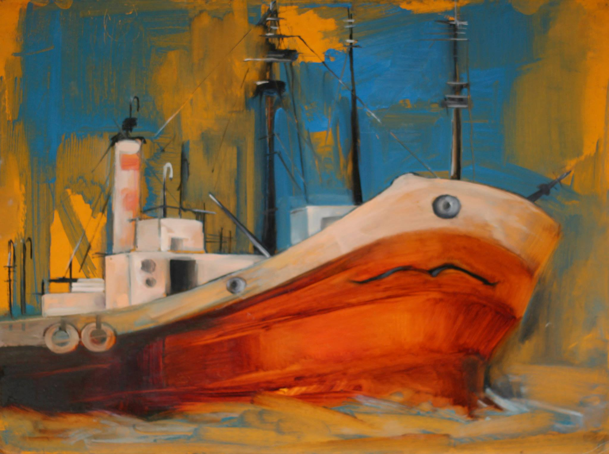 Tamar Maglaferidze_Ship_oil carboard 40X50