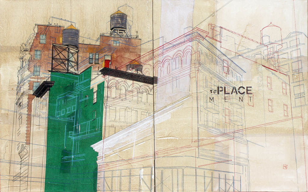 Urban Identities 22, 2013 mixed media and rice paper on canvas, two panels, overall size 122 x 91 cm