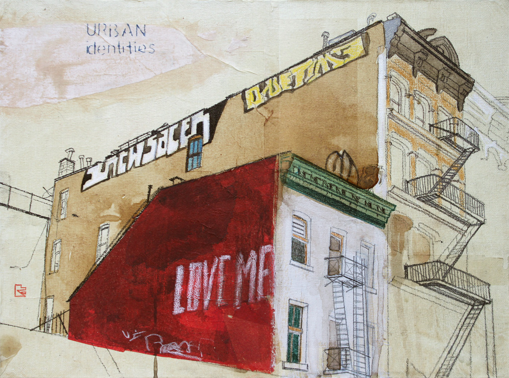 Urban Identities (Love Me), 2013. mixed media and rice paper on canvas, 30×40 cm.