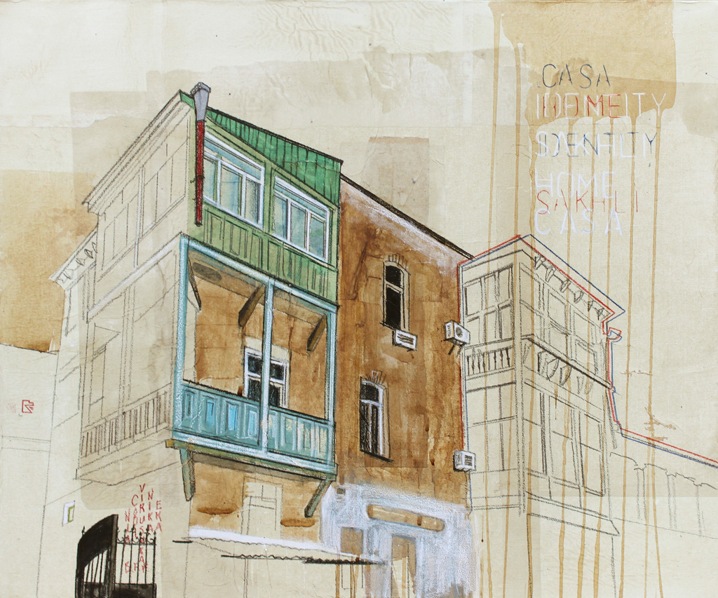Urban Identities (Tbilisi 02), 2012. mixed media and rice paper on canvas, 50×60 cm. private collection.