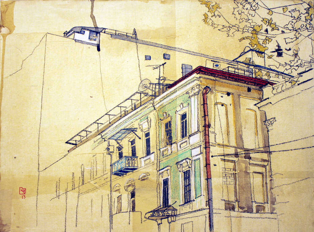 Urban Identities (Tbilisi 03), 2013. mixed media and rice paper on canvas, 30×40 cm. private collection