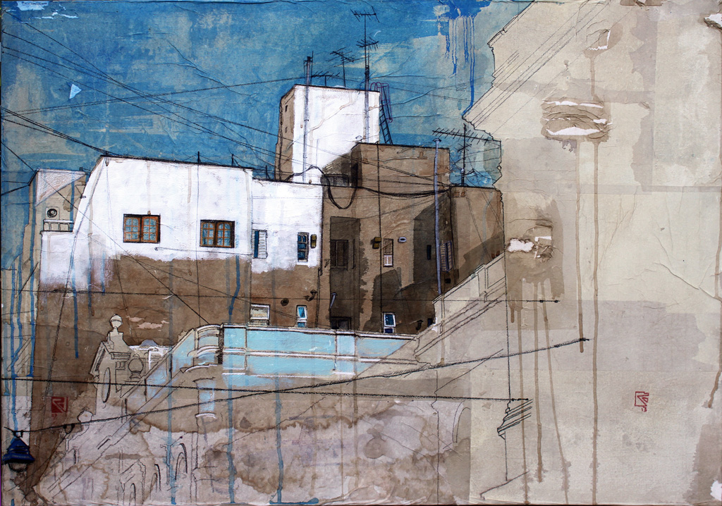 Urban Identity (Buenos Aires02), 2013, mixed media and rice paper on canvas, 80×100 cm