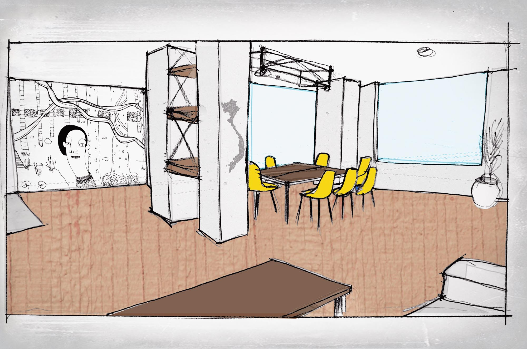Christina's Saigon interior sketch courtesy of Studio Sami