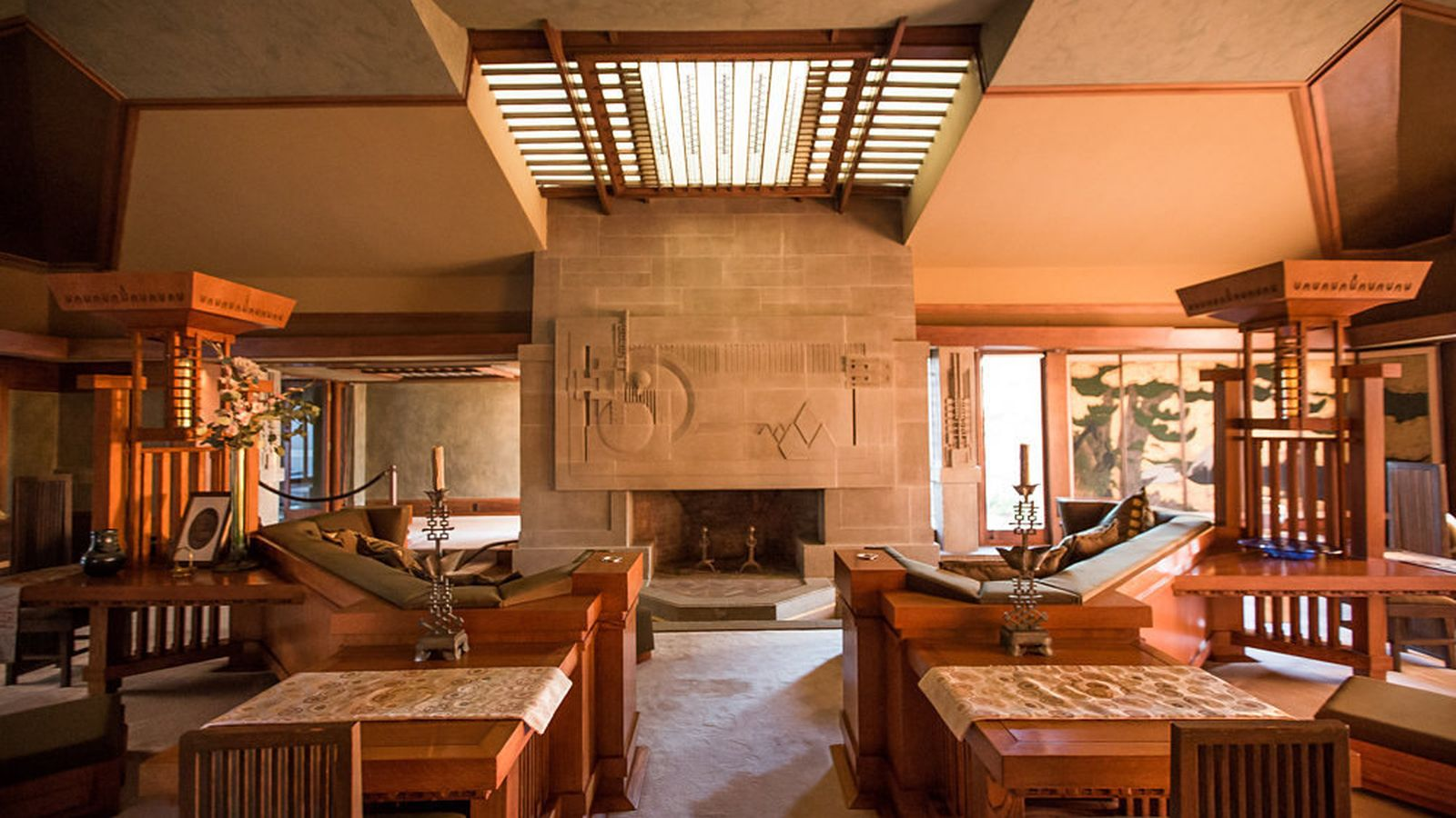 Hollyhock House interior by Frank Lloyd Wright 1920