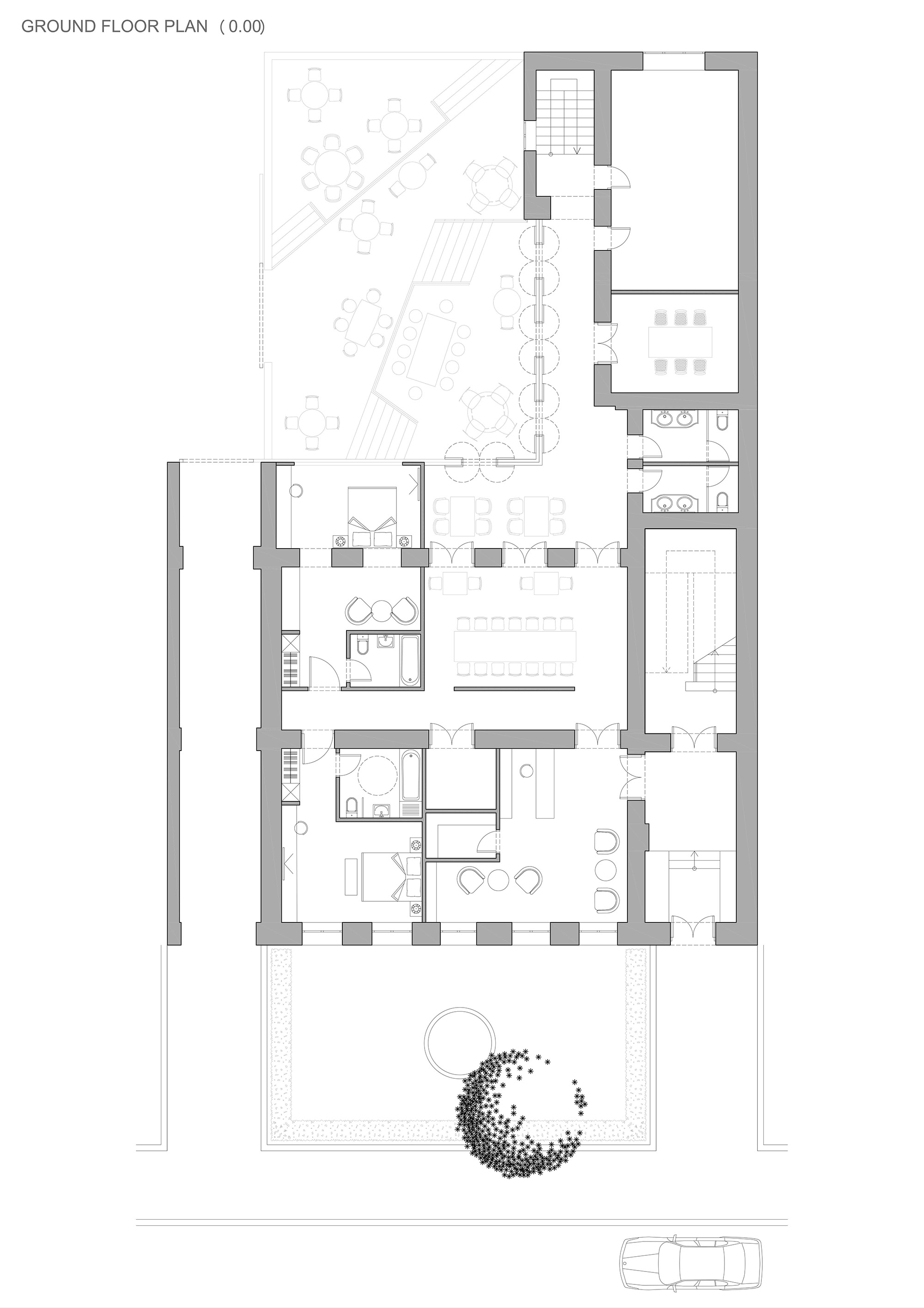 Jazz Hotel ground level plan 0.00 Surgula Studio