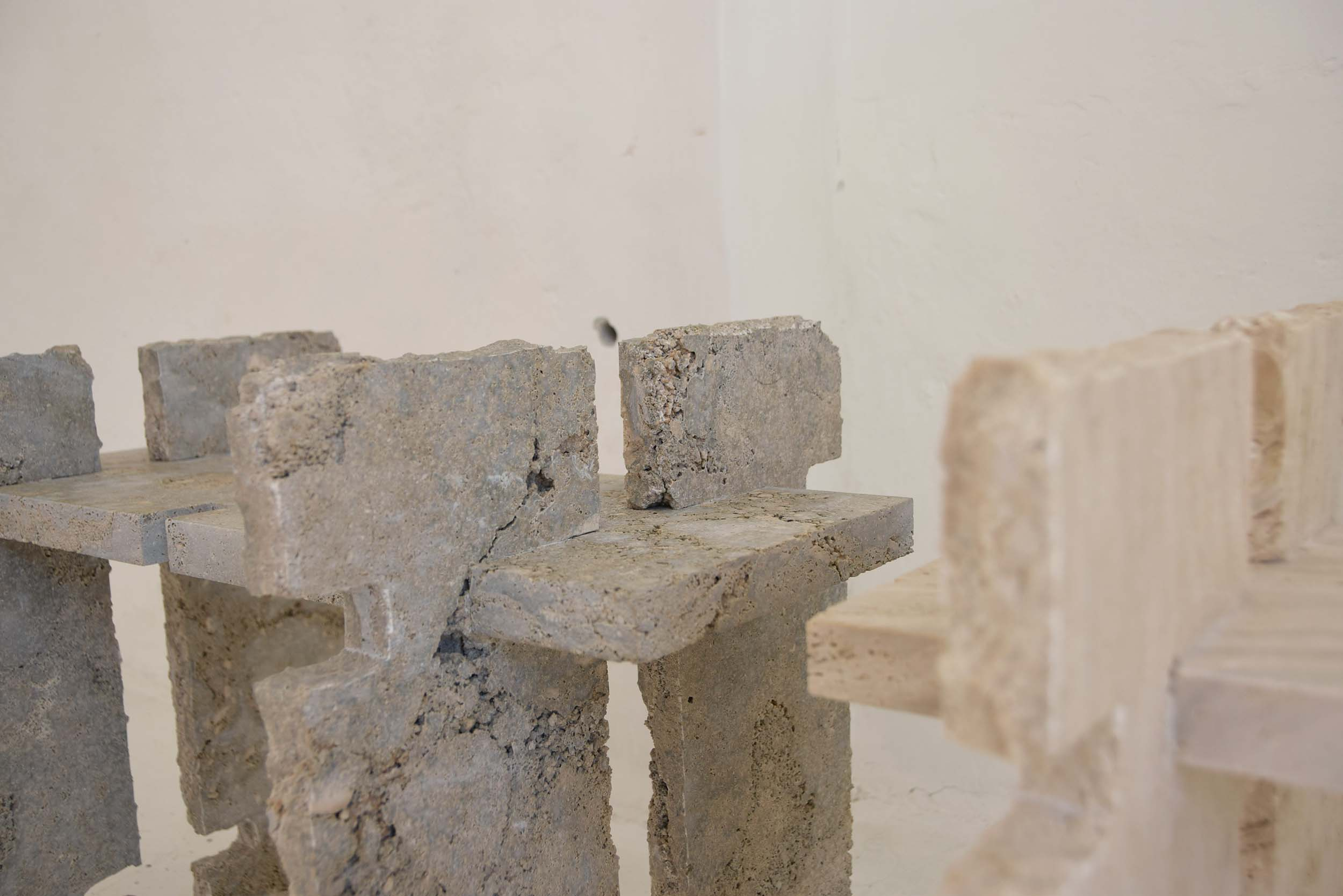 Stool made in Travertine Stone. Favara, Italy.